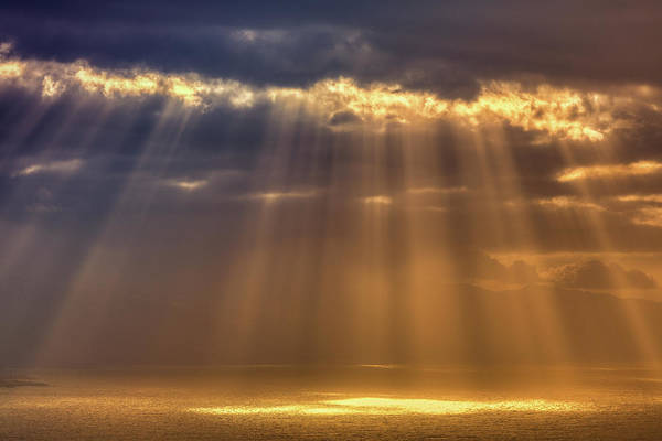 Santa Cruz Island Wall Art - Photograph - Rays Of Sun Peeking Through Clouds by Zodebala