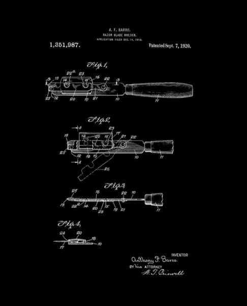 Digital Art - Razor Blade Holder 1920 Barro Bw by Lesa Fine