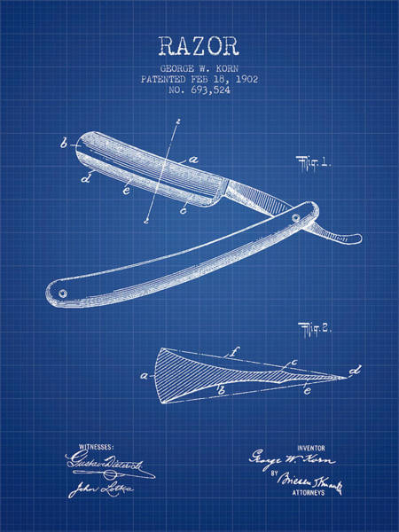 Groom Digital Art - Razor Patent From 1902 - Blueprint by Aged Pixel