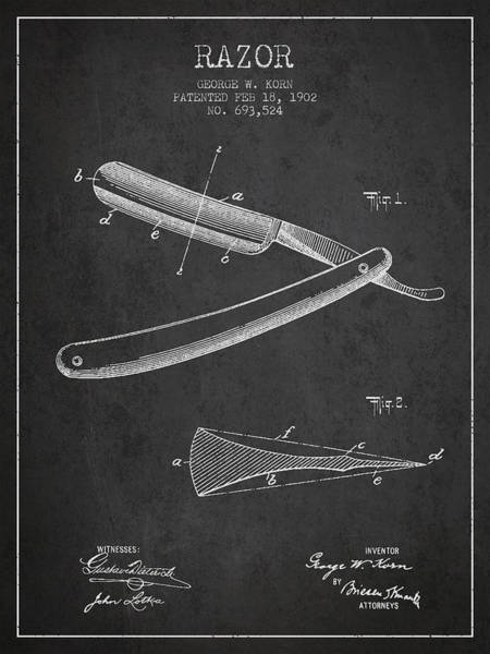 Groom Digital Art - Razor Patent From 1902 - Dark by Aged Pixel
