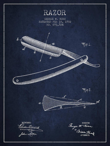 Groom Digital Art - Razor Patent From 1902 - Navy Blue by Aged Pixel