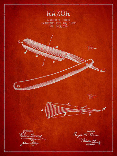 Groom Digital Art - Razor Patent From 1902 - Red by Aged Pixel