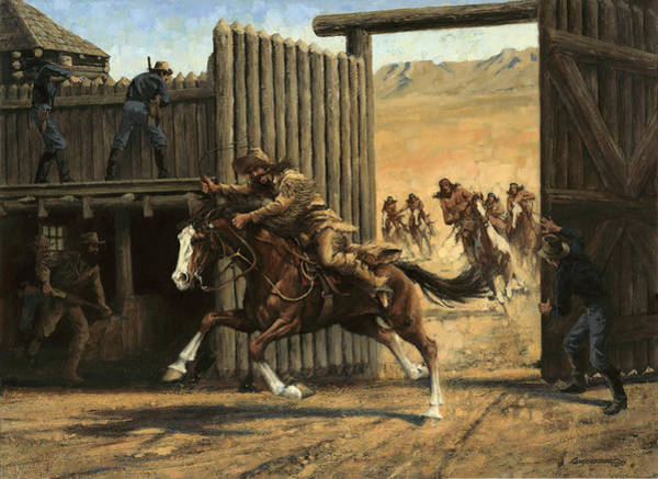 Wall Art - Painting - Re-closing Frontiersmen Coming Into The Fort by Don  Langeneckert