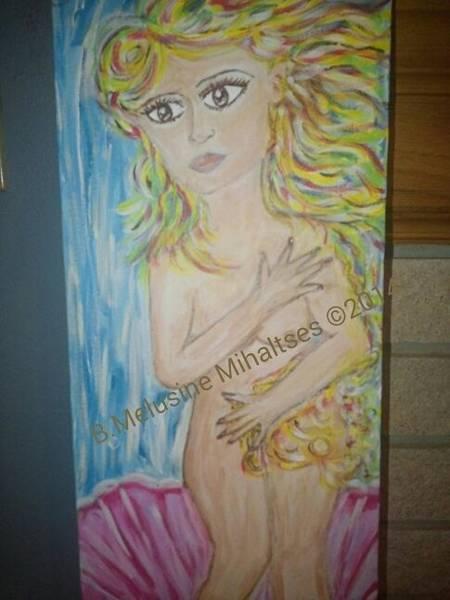 B. Melusine Mihaltses Wall Art - Painting - Re-creating The Goddess Of Love by B Melusine Mihaltses