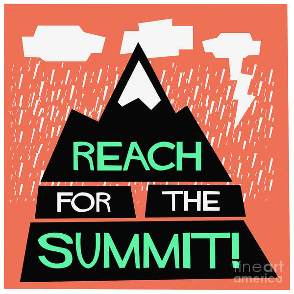 Hiking Digital Art - Reach For The Summit Flat Style Vector by Orange Vectors