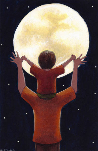 Dad Painting - Reach The Moon by Christy Beckwith