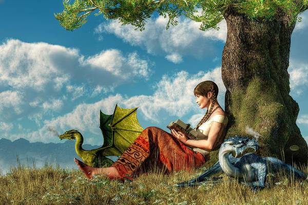 Woman Reading Wall Art - Digital Art - Reading About Dragons by Daniel Eskridge
