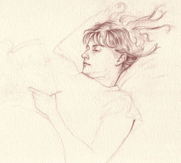 Drawing - Reading In Bed by Russell Kightley