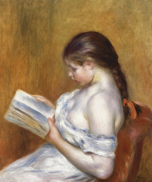 Braid Painting - Reading by Pierre Auguste Renoir