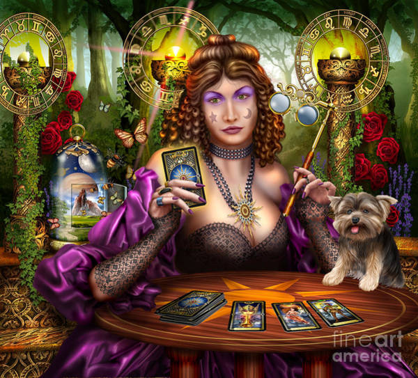 Curtain Digital Art - Reading The Gilded Tarot by MGL Meiklejohn Graphics Licensing