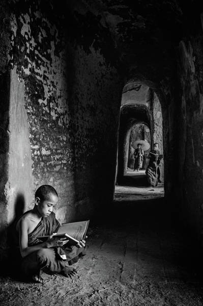Myanmar Wall Art - Photograph - Readings by Michael Lim