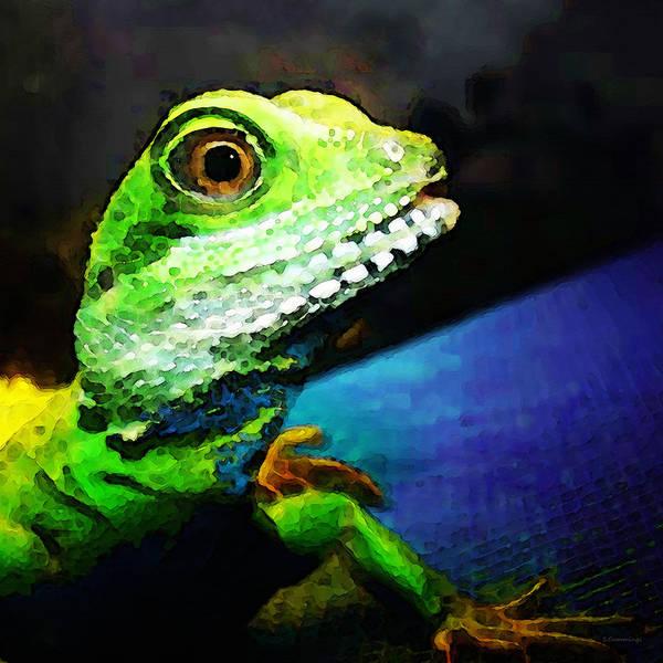 Lizard Painting - Ready To Leap - Lizard Art By Sharon Cummings by Sharon Cummings