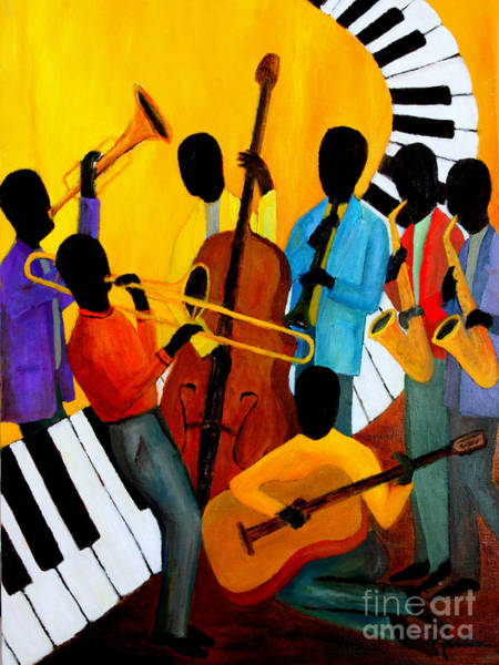 Wall Art - Painting - Real Jazz Octet by Larry Martin
