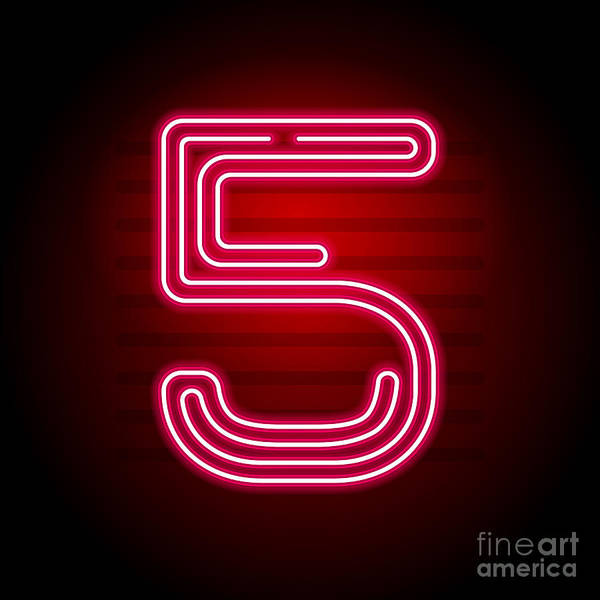 Wall Art - Digital Art - Realistic Red Neon Number. Number With by Oleg	 Vyshnevskyy