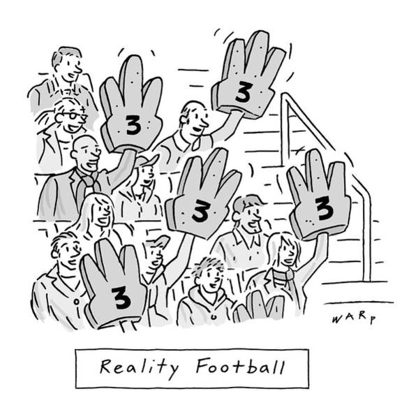 Football Drawing - Reality Football -- A Group Of Cheering Fans by Kim Warp