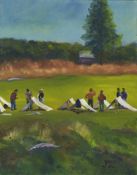 Wall Art - Painting - Reanactment Camp by Gloria Condon