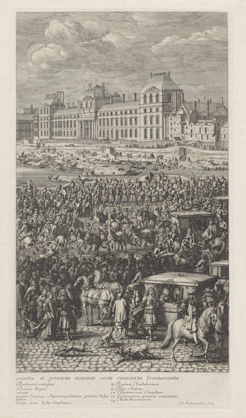 Courtiers Drawing - Rear Guard Of The Procession Of King Louis Xiv Of France by Jan Van Huchtenburg And Adam Frans Van Der Meulen