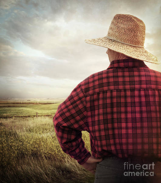 Photograph - Rear View Of A Farmer Looking At His Land by Sandra Cunningham