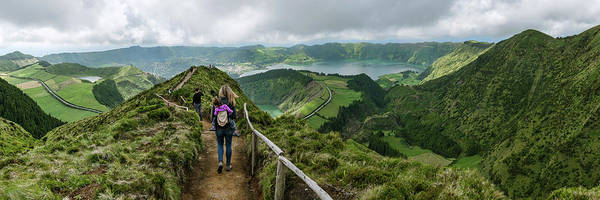 Azores Photograph - Rear View Of Female Hiker On Sete by Panoramic Images