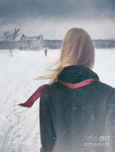 Photograph - Rear View Of Girl With Long Hair With Figure Walking In Forefron by Sandra Cunningham