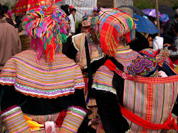 Back In The Day Photograph - Rear View Of Two Flower Hmong Women by Panoramic Images
