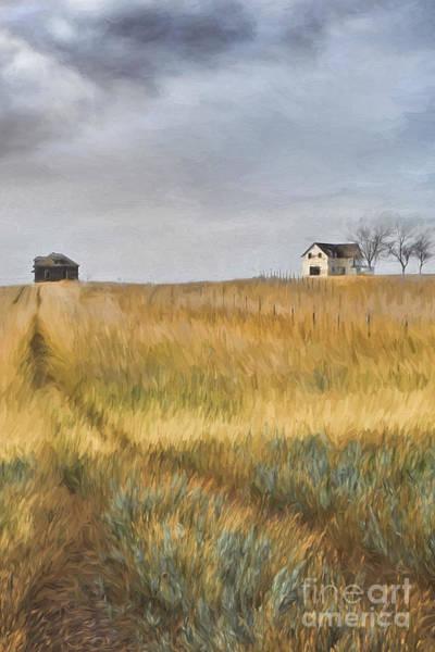 Photograph - Old Farmhouse On The Hill/ Digital Painting by Sandra Cunningham