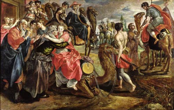 Genesis Photograph - Rebecca Bidding Farewell To Her Family, C.1562 Oil On Panel by Maarten de Vos
