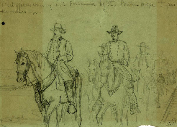 Wall Art - Drawing - Rebel Officers Coming Into Richmond By The Ponton  Bridge by Quint Lox