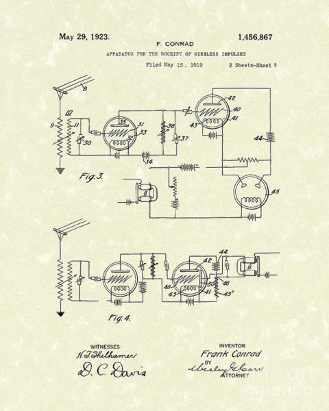 Drawing - Receiver 1923 Patent Art by Prior Art Design