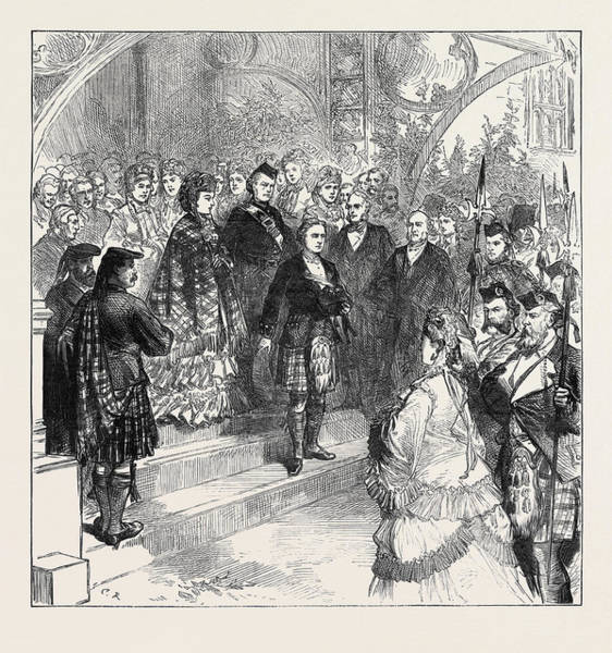 Inverary Castle Wall Art - Drawing - Reception Of Princess Louise At Inverary Castle 1871 by English School