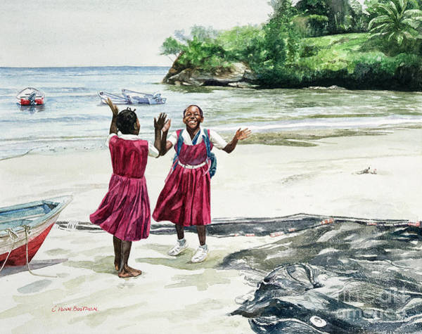 Black Beach Painting - Recess At The Bay by Colin Bootman