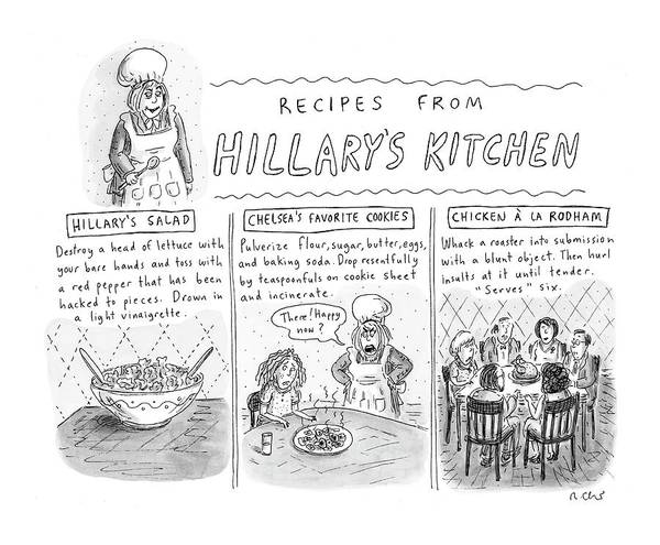 Drown Drawing - 'recipes From Hillary's Kitchen' by Roz Chast