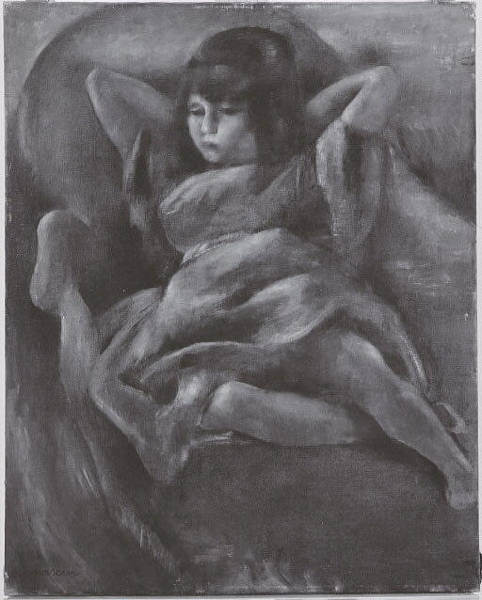 Central America Painting - Reclining Girl Recto Cuban Scene Verso by Jules Pascin