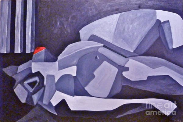 Avi Painting - Reclining Gray by Avi Zamir