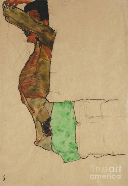 Faceless Painting - Reclining Male Nude With Green Cloth by Egon Schiele