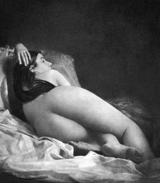 Wall Art - Photograph - Reclining Nude, C1850 by Granger