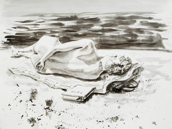 Sand Drawing - Reclining Nude Study Resting At The Beach by Irina Sztukowski