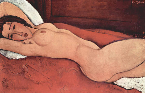 Modigliani Painting - Reclining Nude With Arms Behind Her Head by Amedeo Modigliani