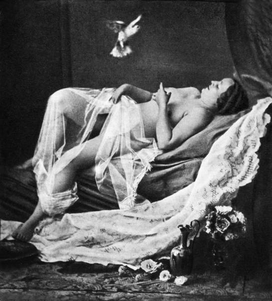 Wall Art - Photograph - Reclining Nude With Bird by Granger
