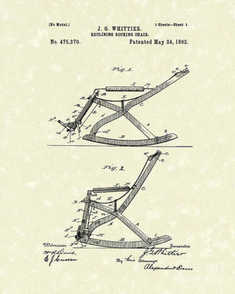 Drawing - Reclining Rocker 1892 Patent Art by Prior Art Design