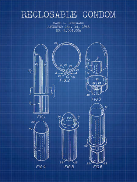 Birth Digital Art - Reclosable Condom Patent From 1986 - Blueprint by Aged Pixel