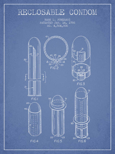 Pregnancy Digital Art - Reclosable Condom Patent From 1986 - Light Blue by Aged Pixel