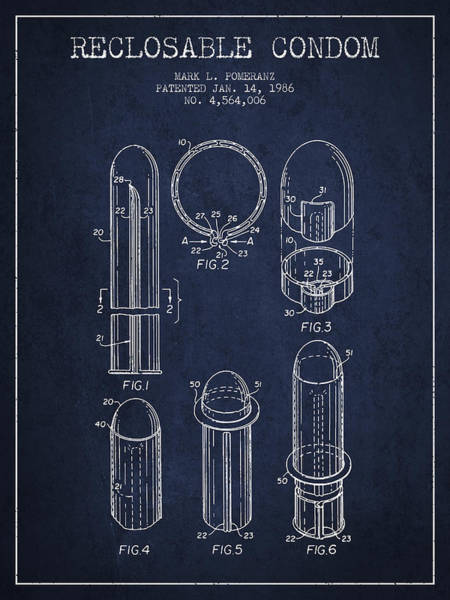Birth Digital Art - Reclosable Condom Patent From 1986 - Navy Blue by Aged Pixel