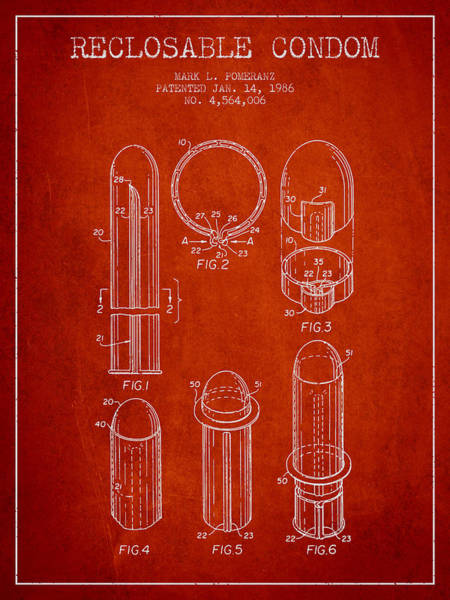 Birth Digital Art - Reclosable Condom Patent From 1986 - Red by Aged Pixel