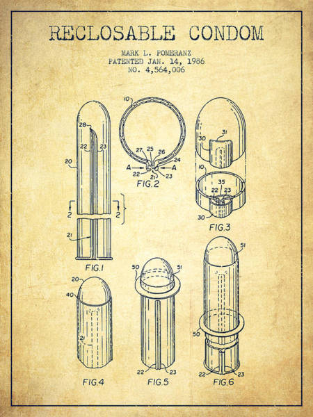 Pregnancy Digital Art - Reclosable Condom Patent From 1986 - Vintage by Aged Pixel
