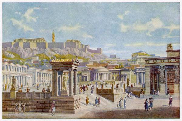 Reconstruction Drawing - Reconstruction Of The Agora  (main by Mary Evans Picture Library