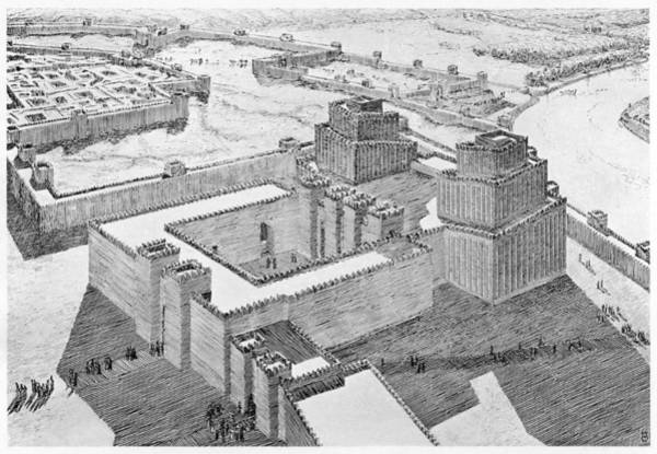 Reconstruction Drawing - Reconstruction Of The Anu- Adad Temple by Mary Evans Picture Library