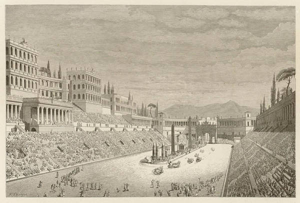 Reconstruction Drawing - Reconstruction Of The Circus Maximus by Mary Evans Picture Library