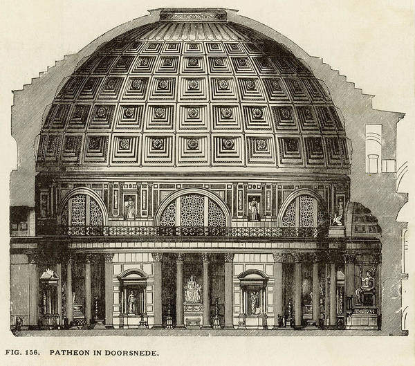 Reconstruction Drawing - Reconstruction Of The Pantheon Showing by Mary Evans Picture Library