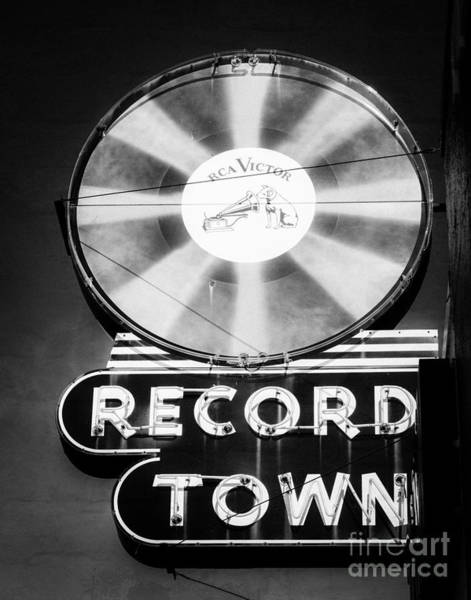 Tcu Wall Art - Photograph - Record Town Vintage Sign by Sonja Quintero